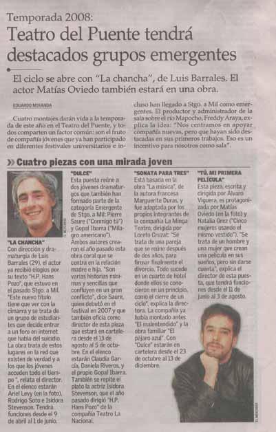 Teatro del Puente tendrá destacados grupos emergentes - El Mercurio - miércoles 6 febrero, 2008