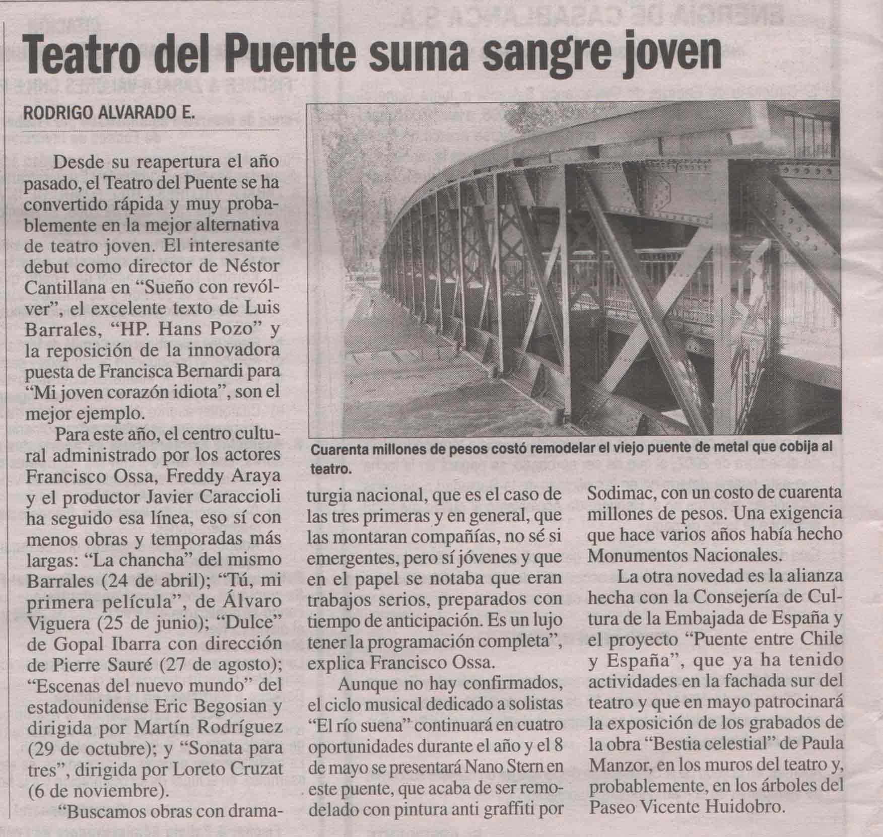 Teatro del Puente suma sangre joven - La Nación - viernes 18 abril, 2008