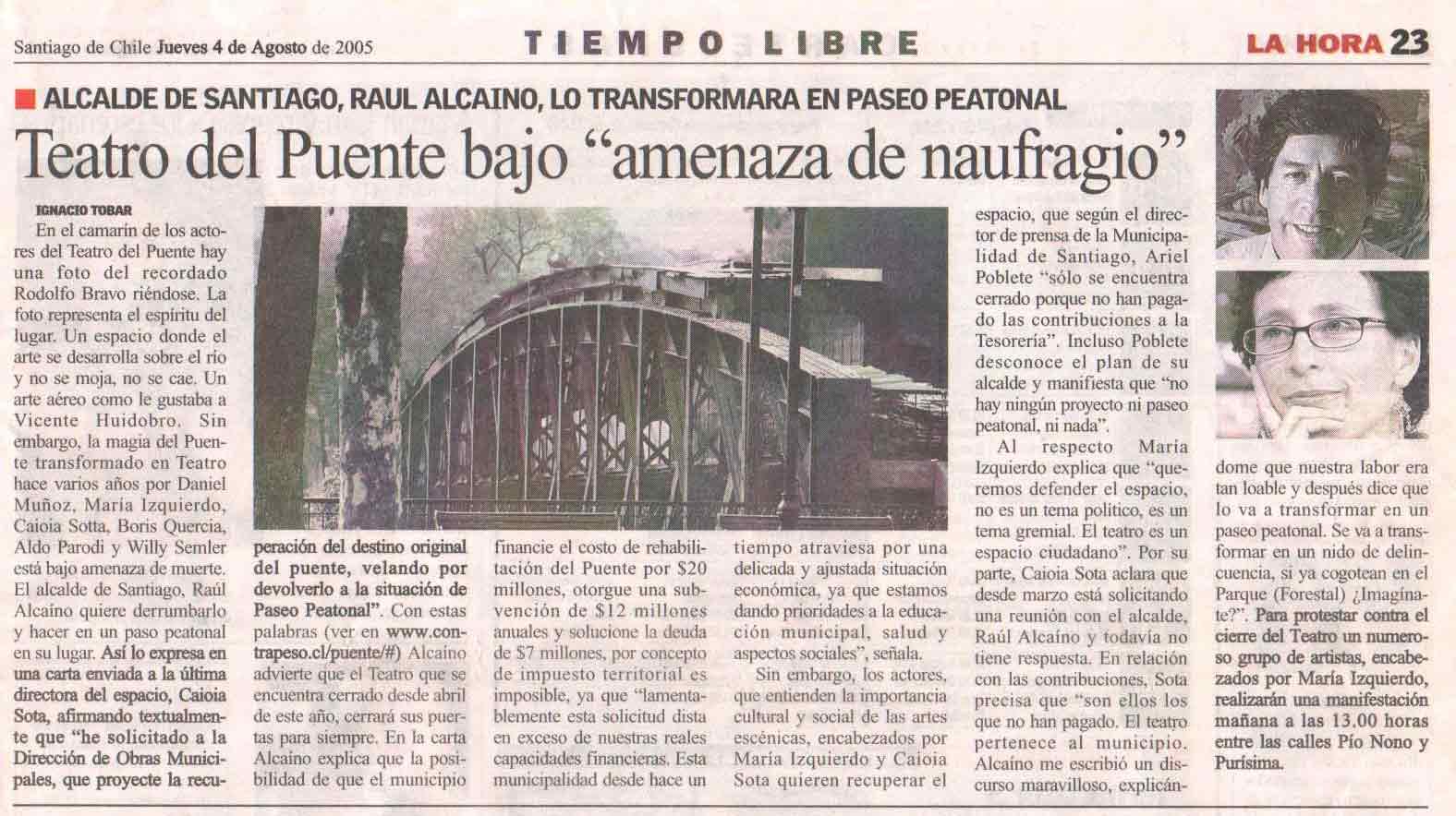 """Teatro del Puente bajo """"amenaza de naufragio"""" - La Hora - jueves 4 agosto, 2005"""