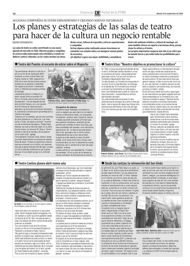 Planes y estrategia de las salas de teatro - Diario Financiero - martes 9 septiembre, 2008