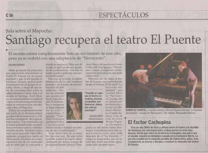 Santiago recupera el Teatro del Puente - El Mercurio - viernes 5 mayo, 2006