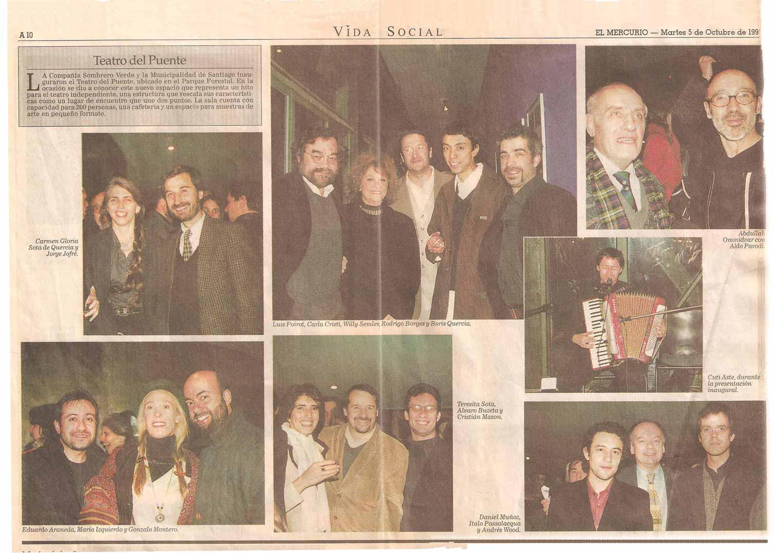Inauguración 1998 - El Mercurio - martes 5 octubre, 1999
