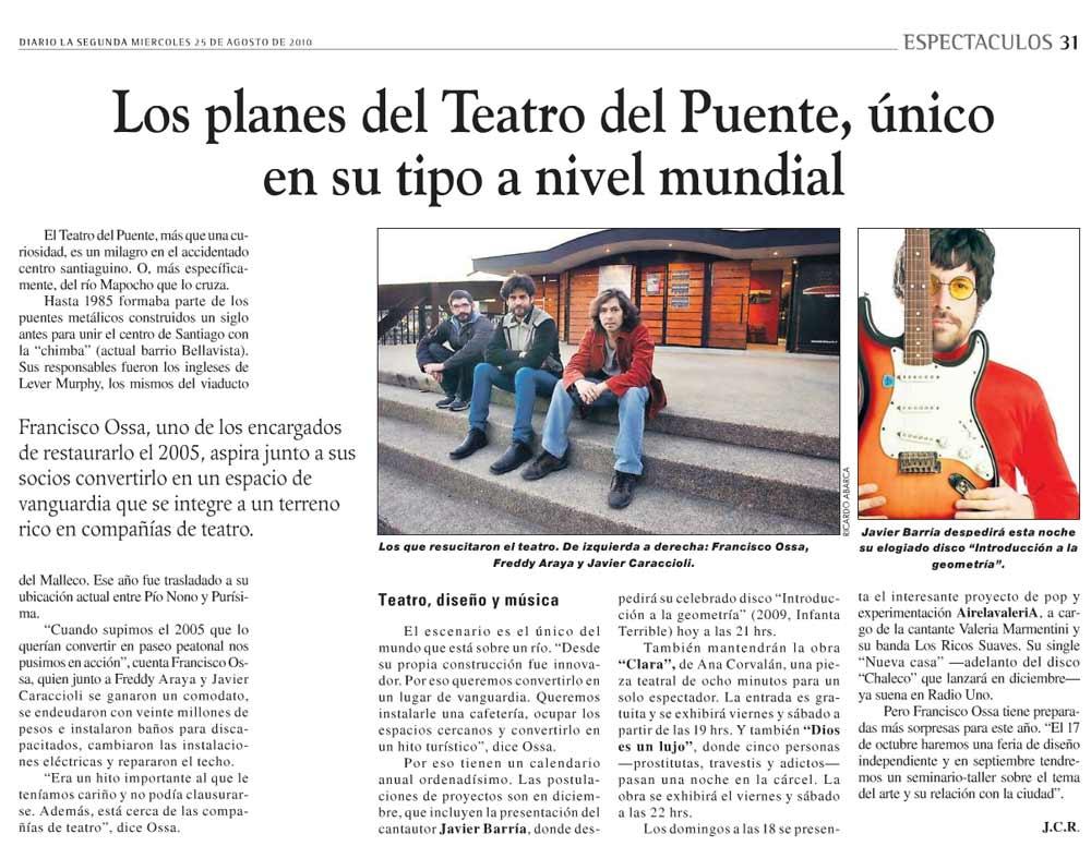 Los planes del Teatro del Puente, único en su tipo a nivel mundial - La Segunda - miércoles 25 agosto, 2010